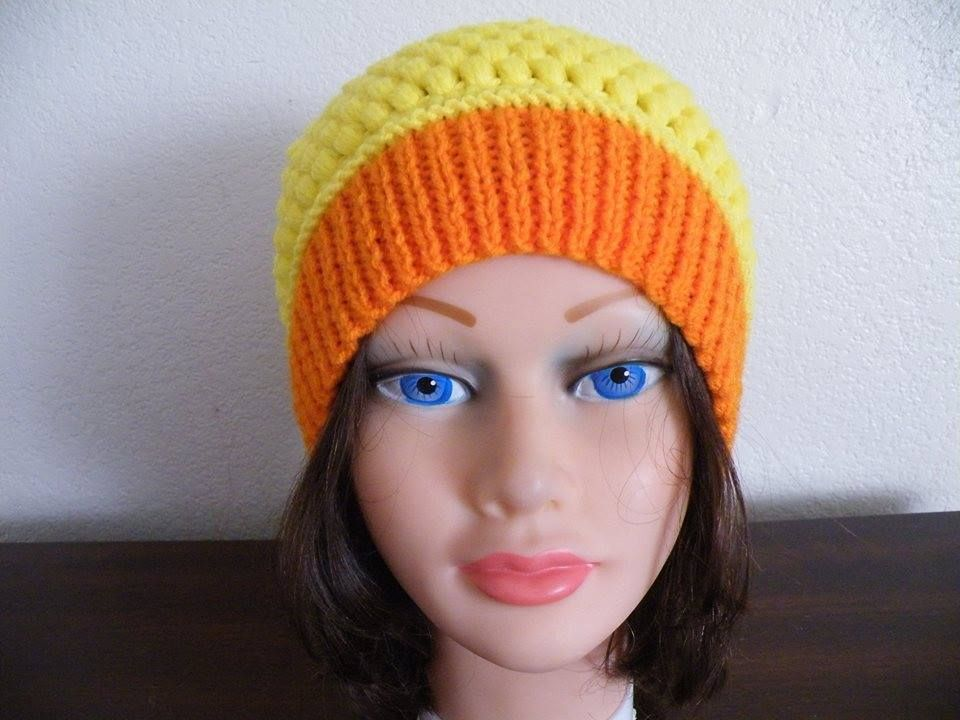 Knitted Orange and Yellow Hat