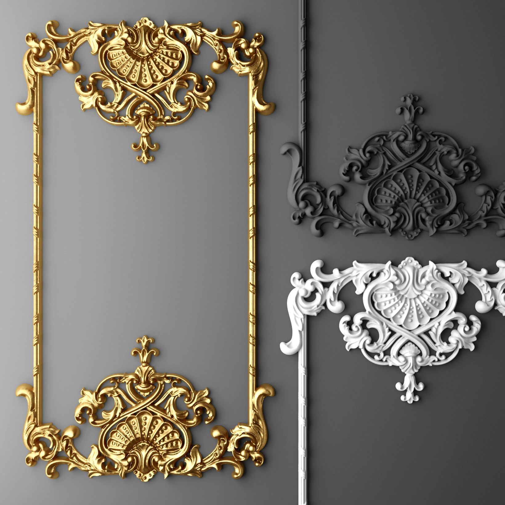 Baroque frame 3d max diy mirrors furniture molding for Decoration 3ds max