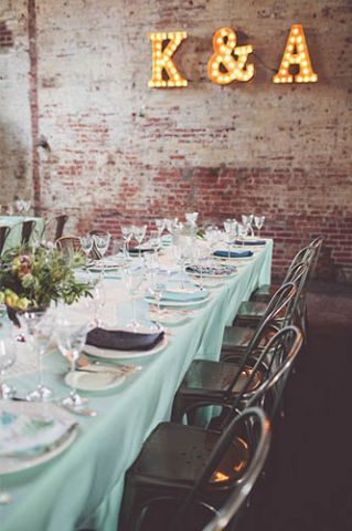 1920's wedding in a Brooklyn speakeasy - love the light up letters