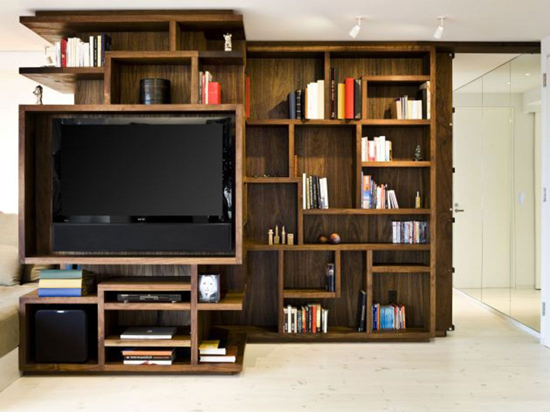 Bookshelf Designs Wooden: New York City Apartment Wooden Bookcase Design  Opened, Bookshelf Designs Wooden