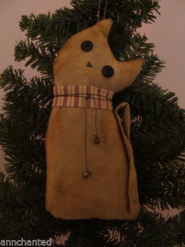 Handmade Primitive Kitty Cat Fabric Doll Christmas Ornie