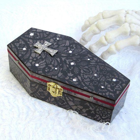halloween decor coffin box halloween decoration goth decor black and gray with cross decorated coffin box