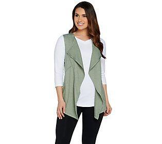LOGO Lounge by Lori Goldstein Cascade Vest w/ Coverstitched Pockets