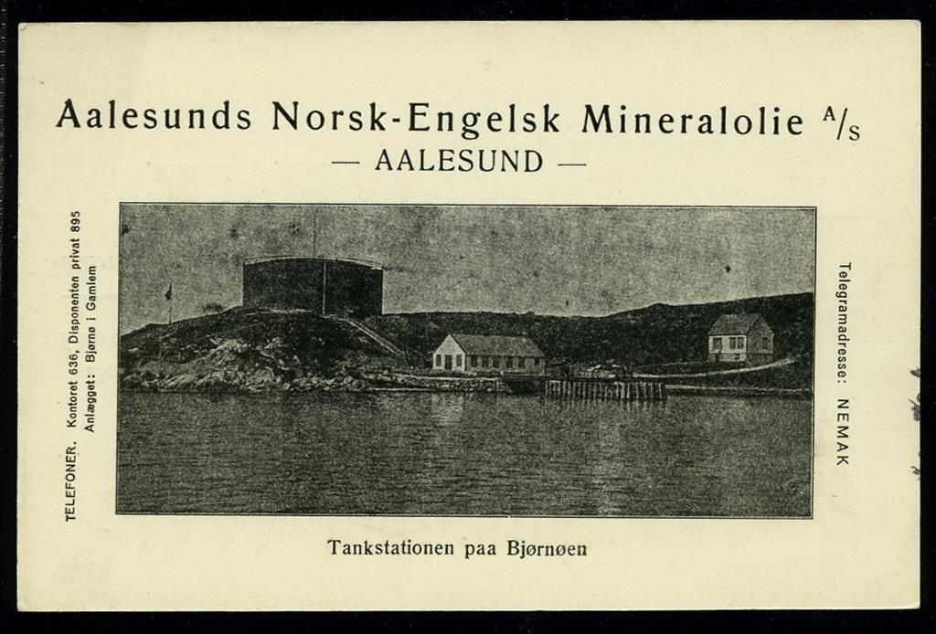 AALESUNDS NORSK-ENGELSK MINERALOLJE A/S. brevkort med bilde av anlegget. Postgått 1920