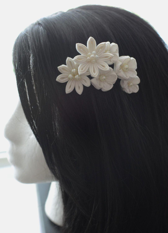 Blanca flor pelo peine Floral peine del por LilsHandmadeGarden