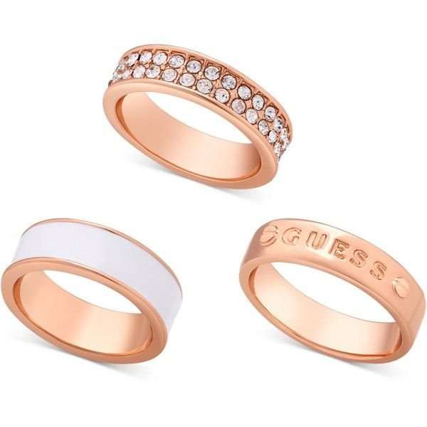 Guess Rose GoldTone 3Pc Set of Rings 11 liked on Polyvore