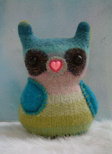 repurposed sweater owl