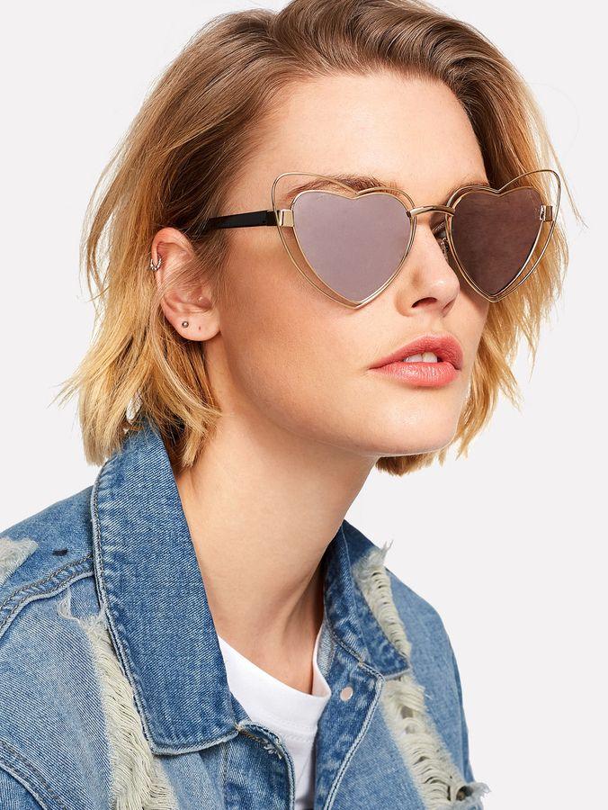 9589048be1 Shein Heart Pattern Lens Sunglasses