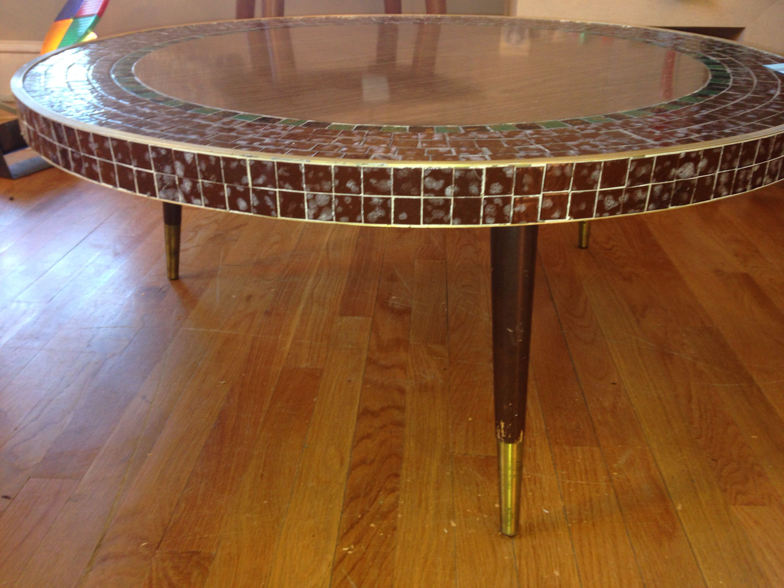 1960s Vintage Formica Round Coffee Table With Mosaic Tile Accent Sold Round Coffee Table 1960s Vintage Mosaic Tiles [ 2448 x 3264 Pixel ]