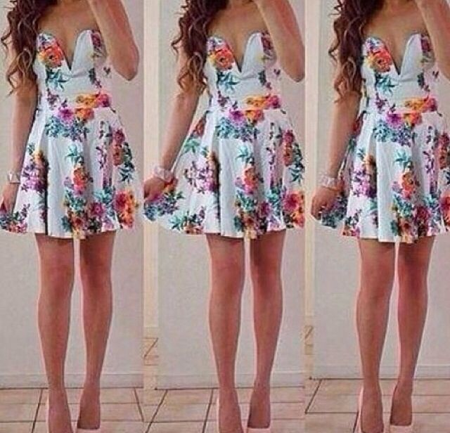 Cute sexy colorful flower dress
