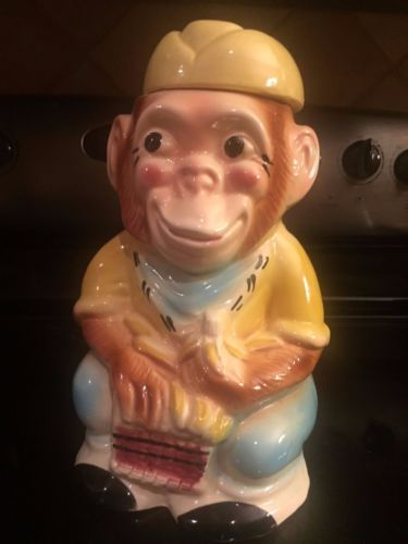 VINTAGE-RRP-JOCKO-Monkey-Cookie-Jar-Roseville-RARE