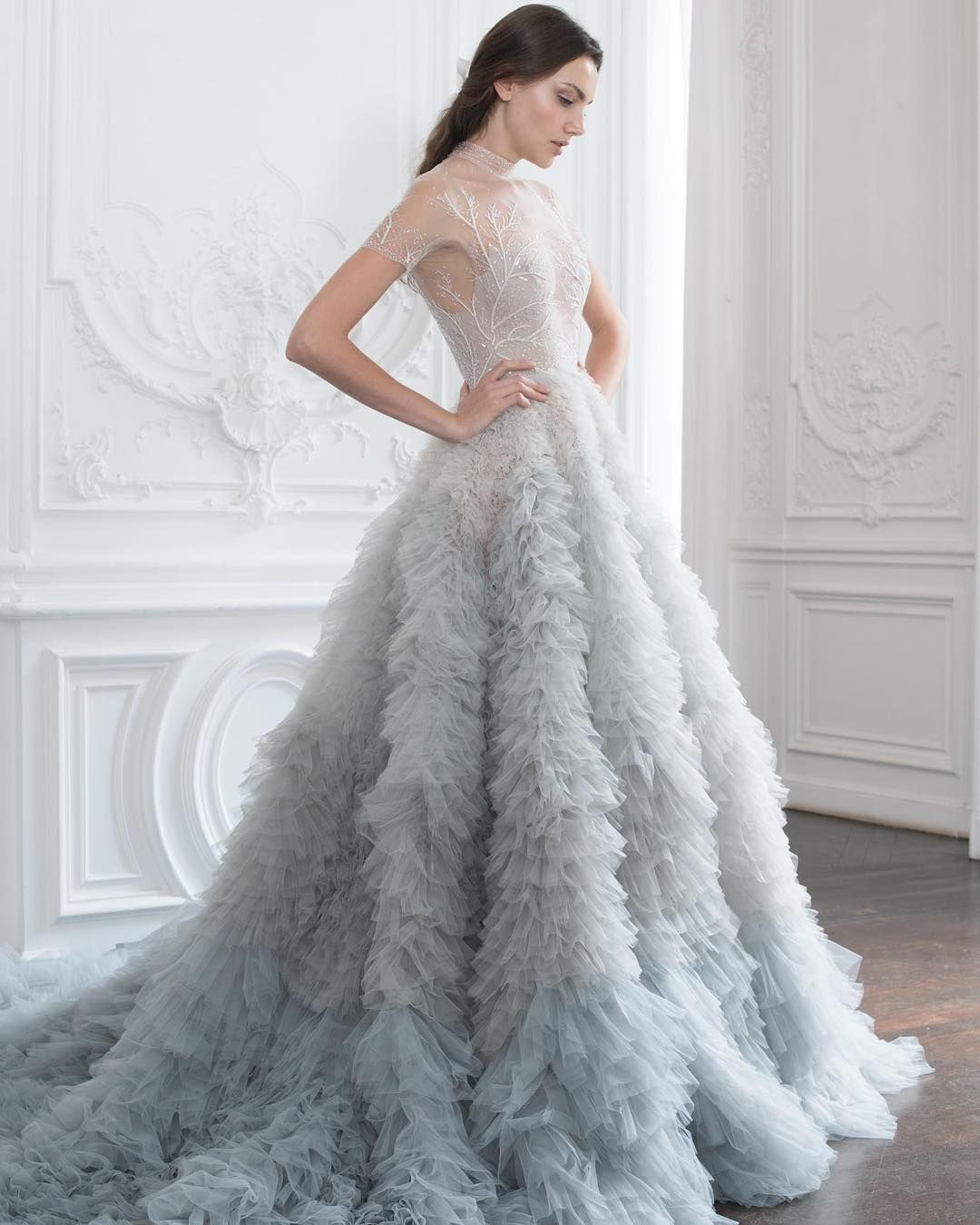 Dusty blue ombre wedding dress psaw u ruffle ballgown with