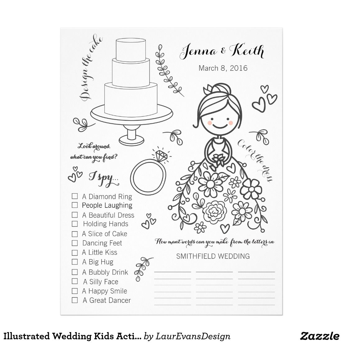 Illustrated wedding kids activity coloring page social connect