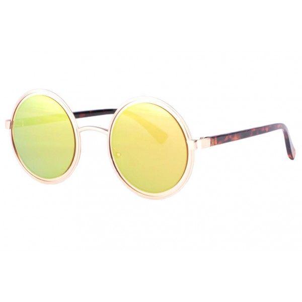 Lunette soleil ronde miroir doré fantaisie modèle Olvay de marque Soleyl, lunettes  soleil femme et 8d4c3b428491