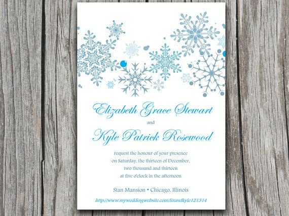 Snowflakes Wedding Invite Microsoft Word Template - Winter Wedding - how to make invitations with microsoft word