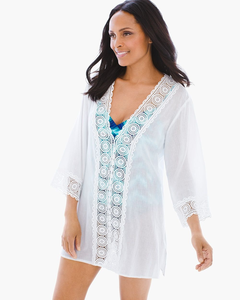 8812d3b8ce Chico's Women's La Blanca Island Fare Swim Cover-up Tunic, White, Size: XS