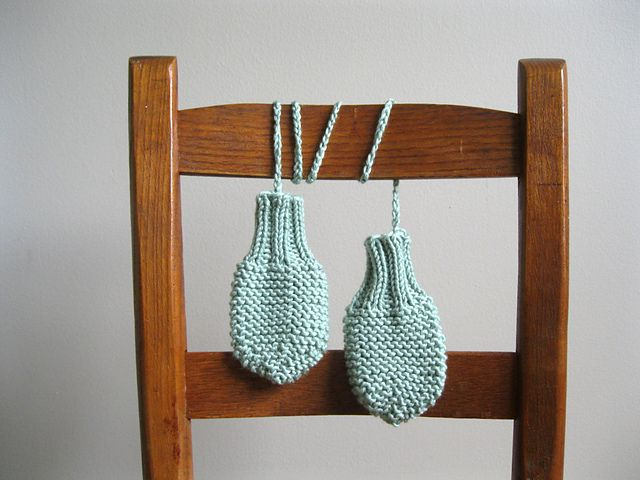 Thumbless Baby Mittens with String pattern by Hilary Frazier