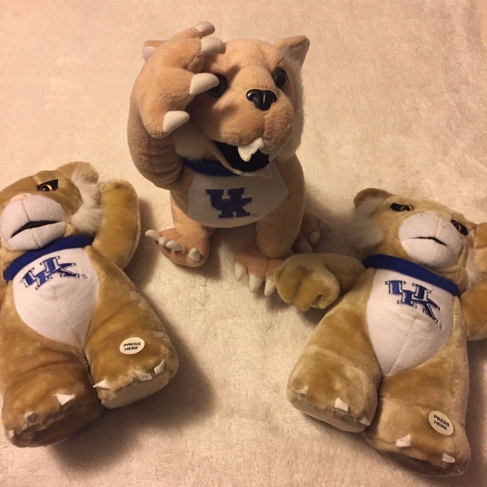 Lot Of 3 Kentucky Wildcats Plush Mascot Stuffed Soft Toy Animal 12