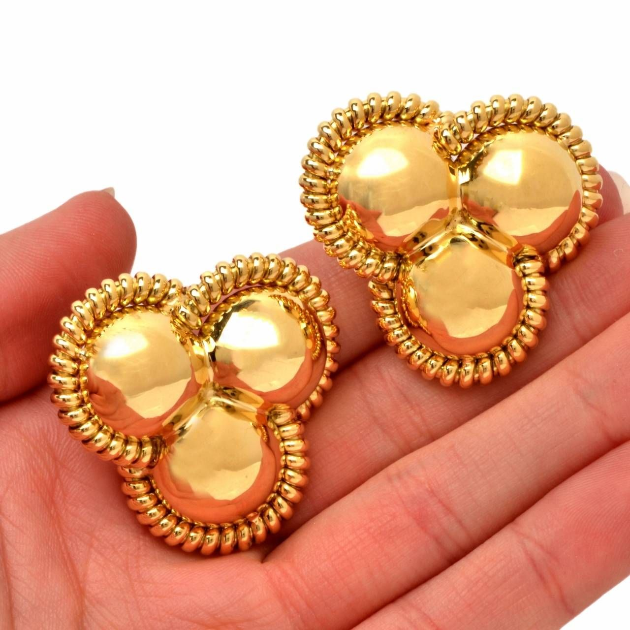 Italian Gold Clip Post Earrings | From a unique collection of vintage clip-on earrings at https://www.1stdibs.com/jewelry/earrings/clip-on-earrings/