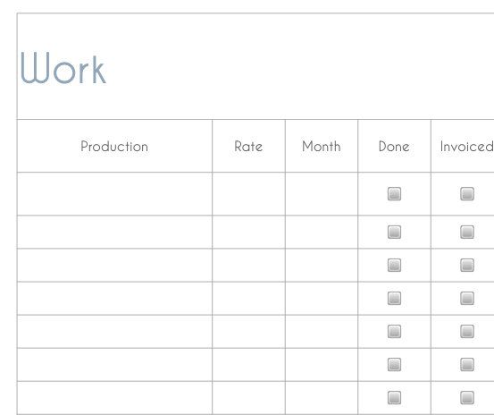Tracking sheet for freelancers - pdf An easy to keep track of who - invoice for work done
