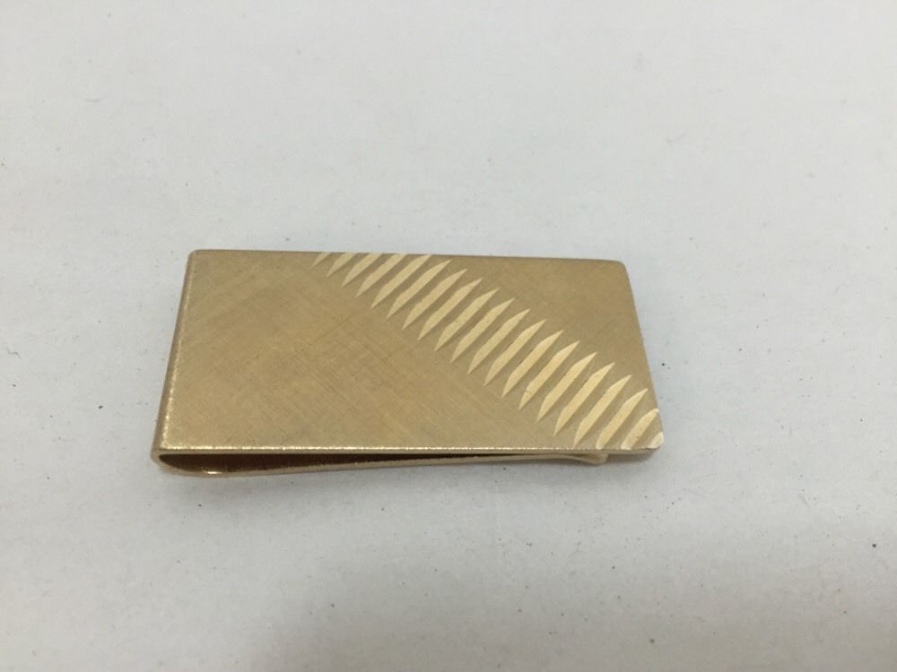 Vintage Gold Tone Money Clip Carved Design #Unbranded