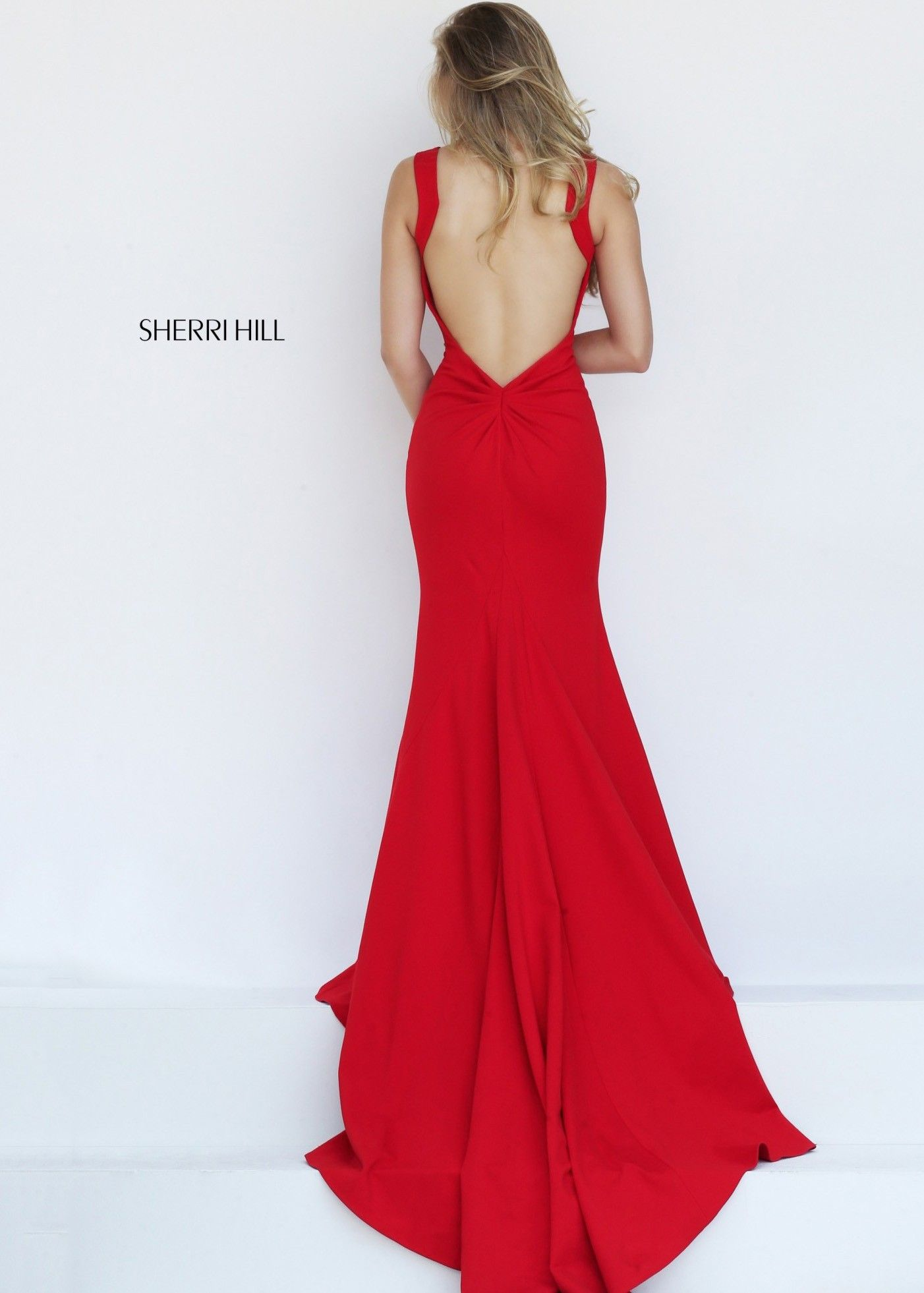 Sherri hill fit and flare open back red jersey prom dress