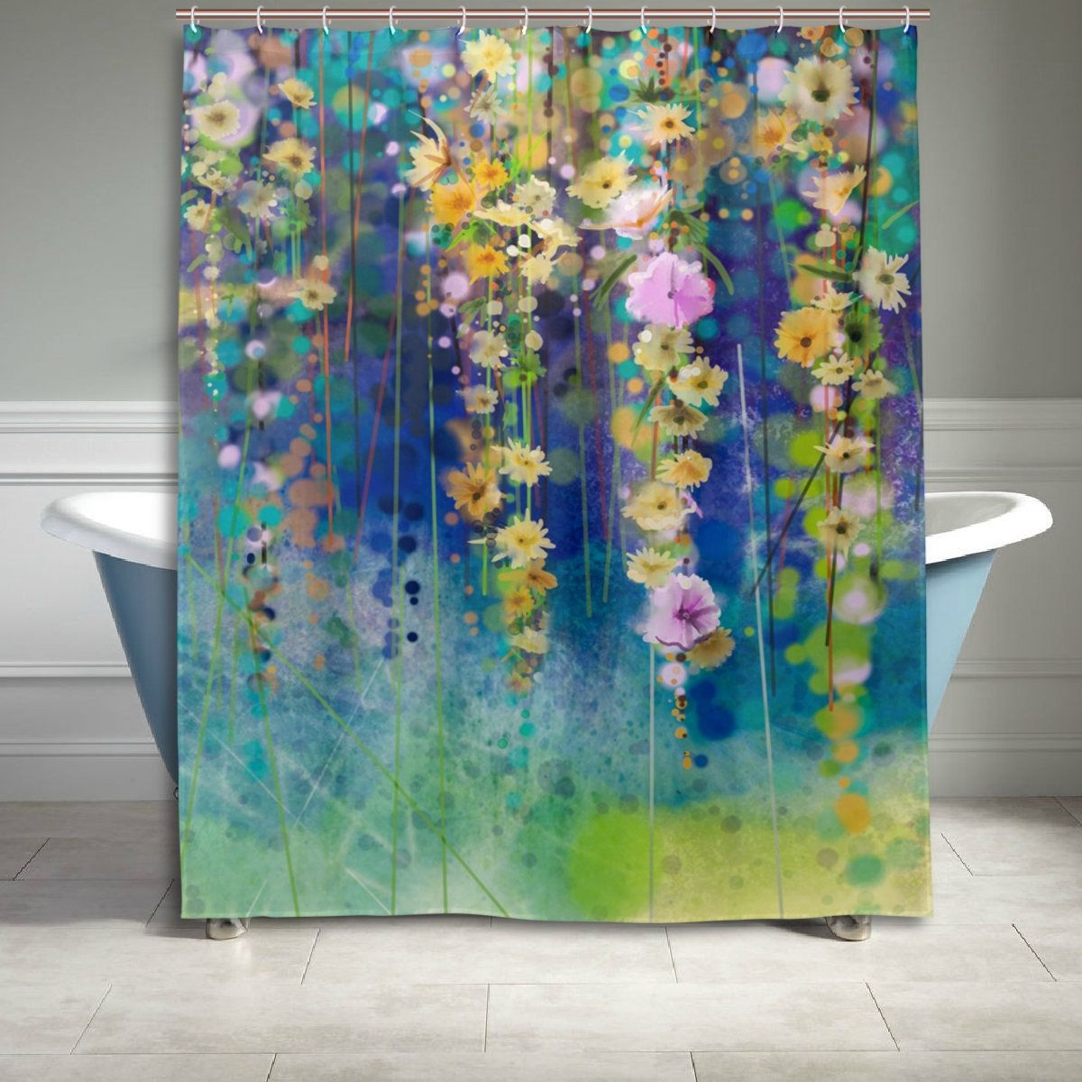 Watercolor Flower Blossoms Shower Curtain 60 X 72 Inch Floral ...