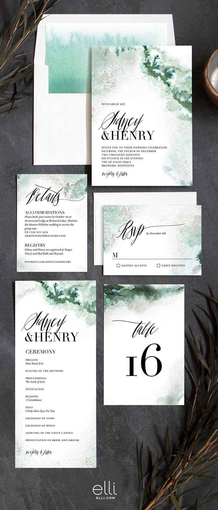 Painted Ethereal wedding invitation suite with natural earthy ...