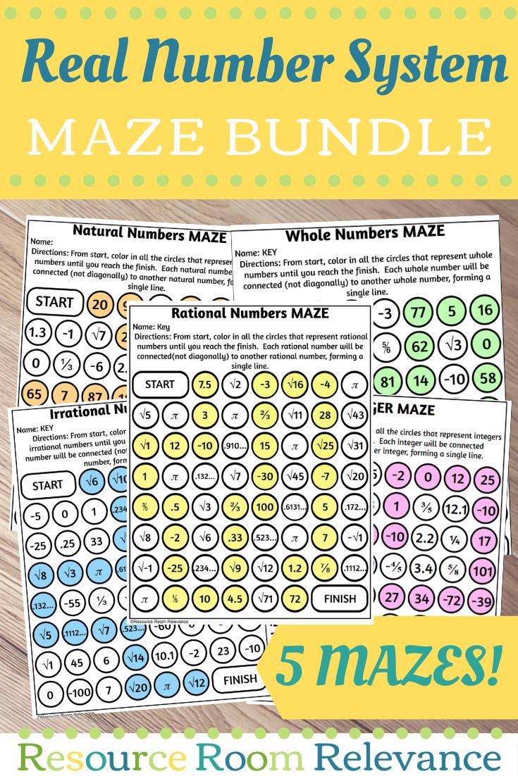 Real Number System Maze Bundle Real Number System Real Numbers Number System [ 1102 x 735 Pixel ]