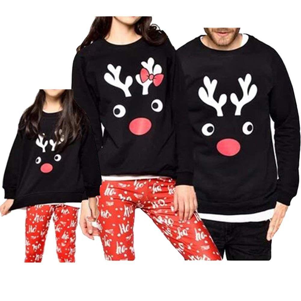 Reindeer Christmas Family Matching Sweatshirts Long Sleeve Christmas Top - 2237black - CY18KIMNZIT -...