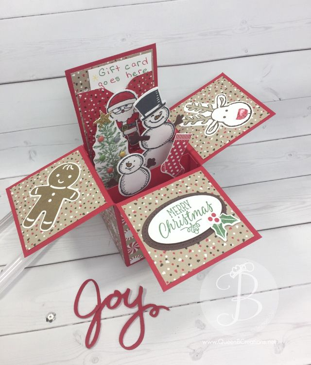 Christmas card in a box using cookie cutter christmas, snow place, hang your stocking and lovely as a tree stamp sets This card in a box holds a gift card too. By Queen B Creations