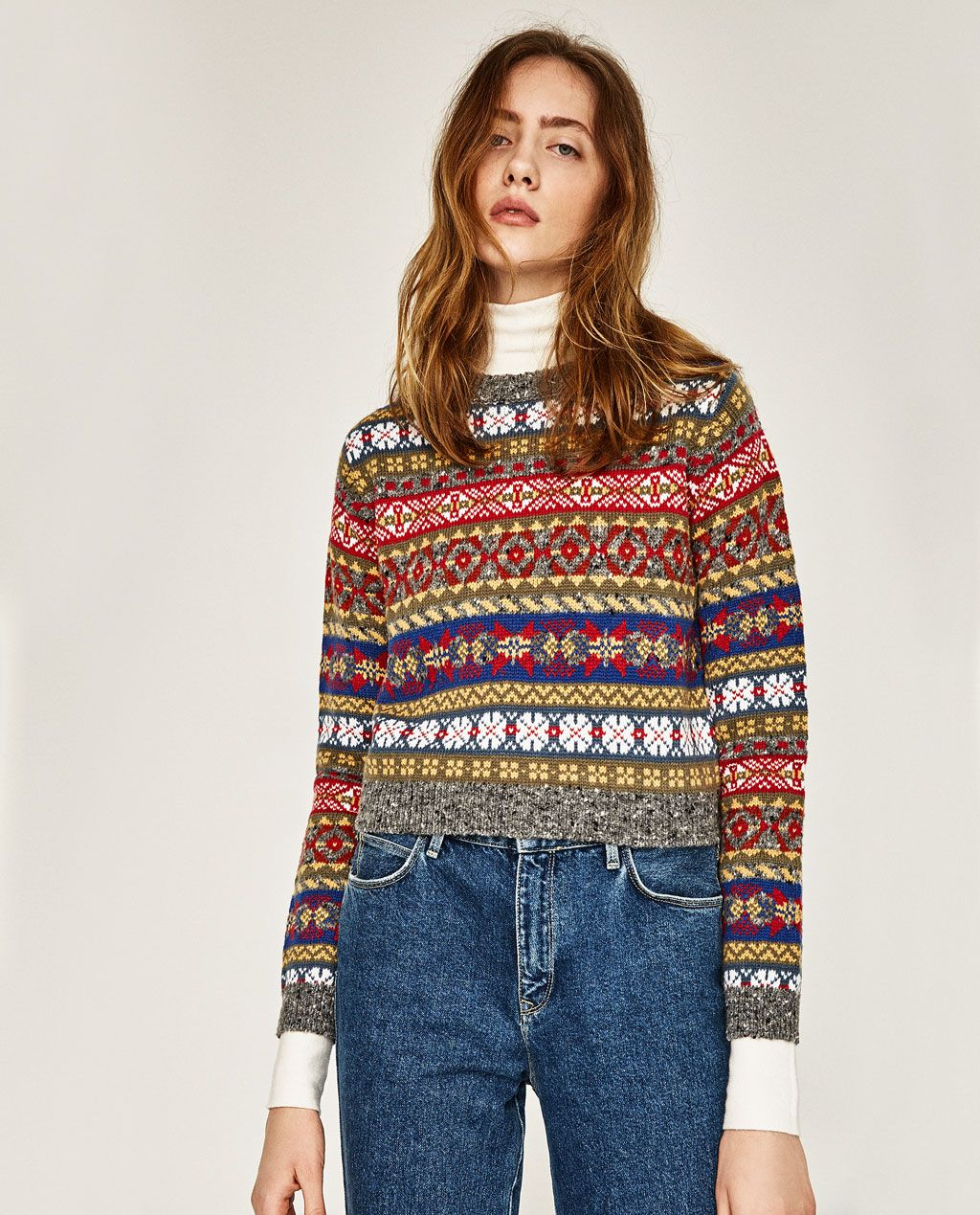 CROPPED JACQUARD SWEATER | Style. | Pinterest | Of, Zara united ...