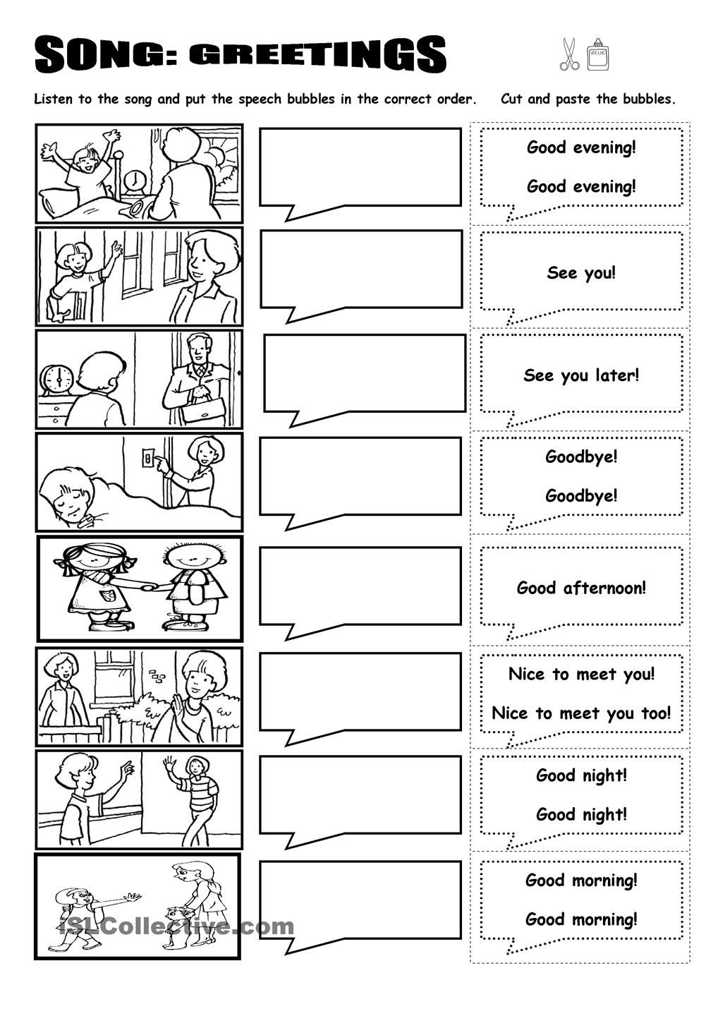 Song Greetings Introducciones Pinterest Worksheets English