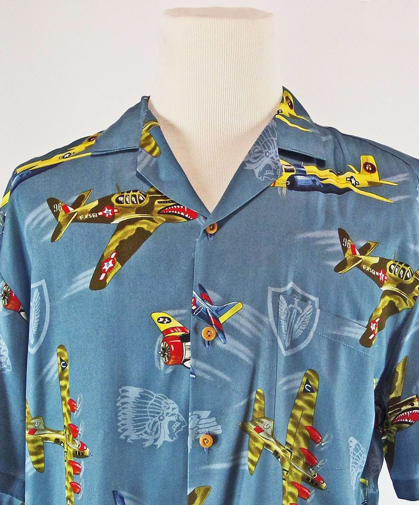 075afc91e69348 Paradise Found Airplane Hawaiian Shirt L World War II Military Made In  Hawaii #ParadiseFound #Hawaiian