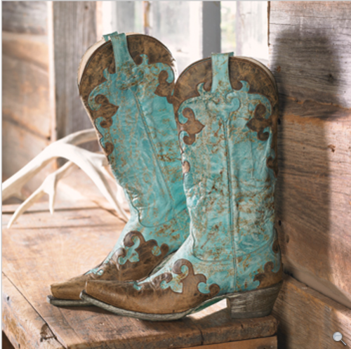 My next color of cowgirl boots; looks cute with these lacy Boho outfits: Brown and Turquoise Boots