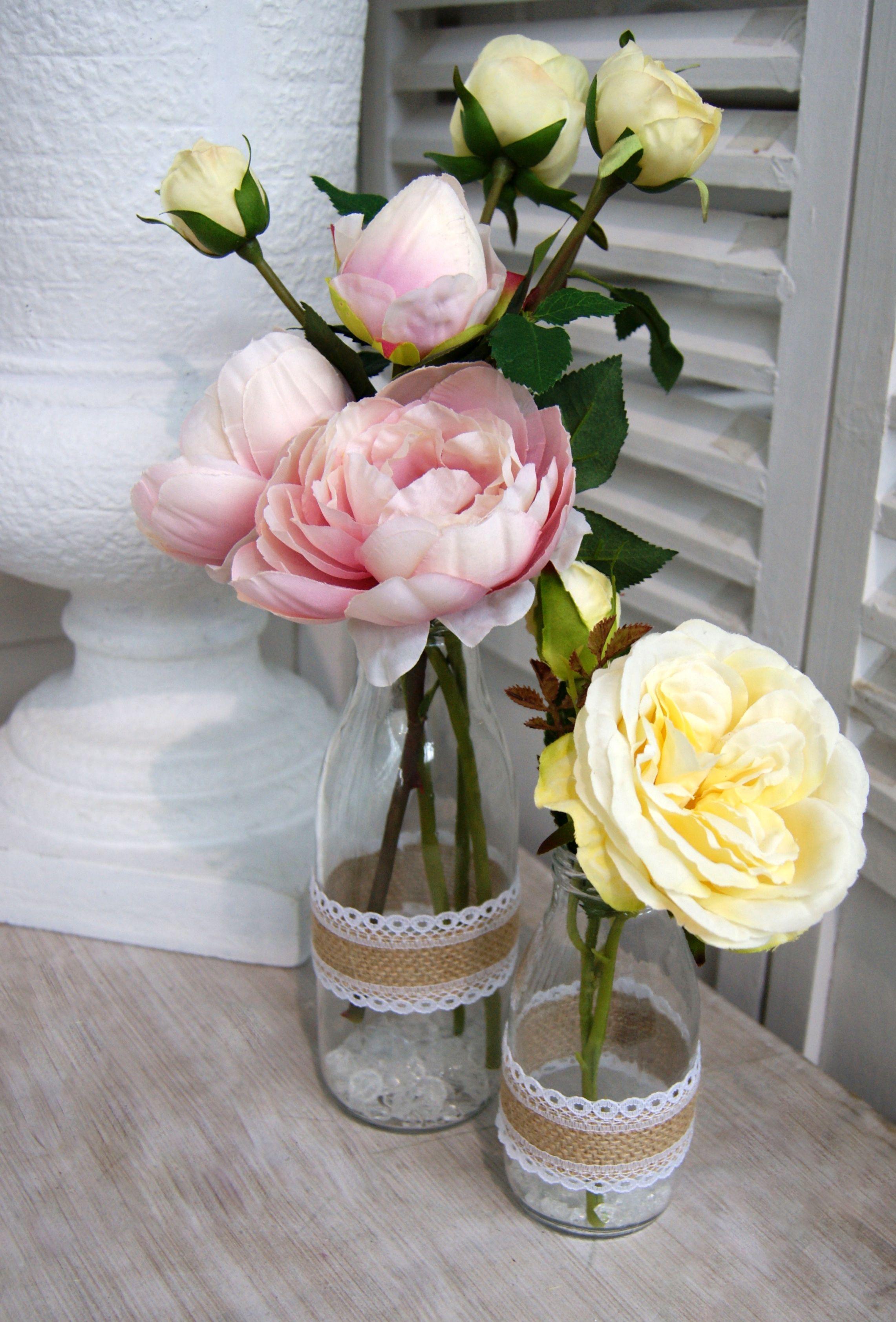 Wedding table decorations small milk bottles with pink and lemon wedding table decorations small milk bottles with pink and lemon roses artificial flowers junglespirit Gallery