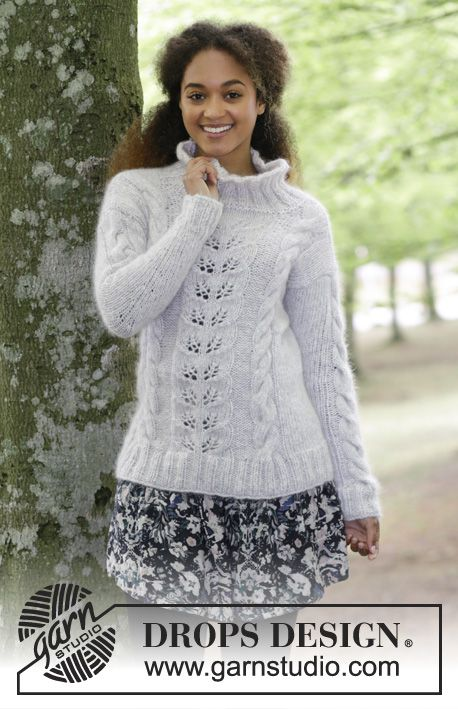Knitted jumper with cables and lace pattern. Sizes S - XXXL. The ...