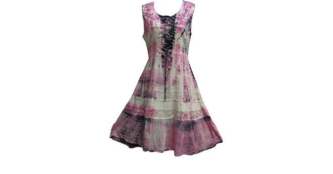 Indian Bohemian Embroidered Gypsy Corset MidLength Sleeveless Dress Pink Tie-Dye (Large/XL) at Amazon Women's Clothing