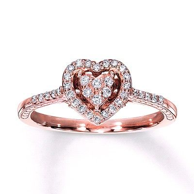 Rose Gold 10k Promise Ring Kay Jewelers Rose Gold Promise Ring Black Gold Jewelry Diamond Promise