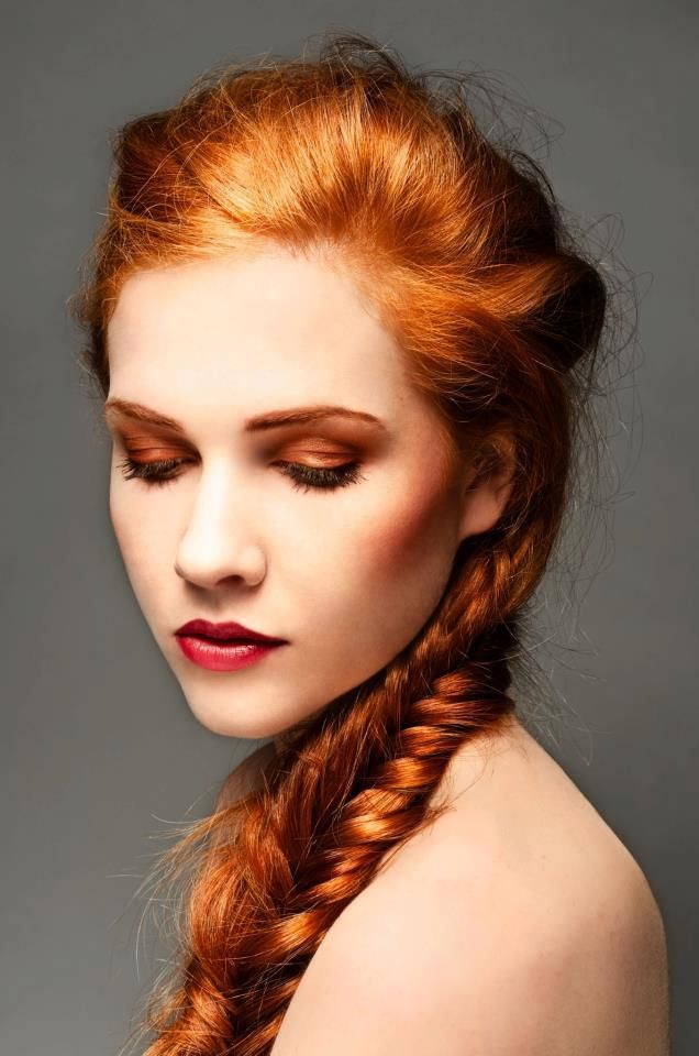 fish tail braid in red hair