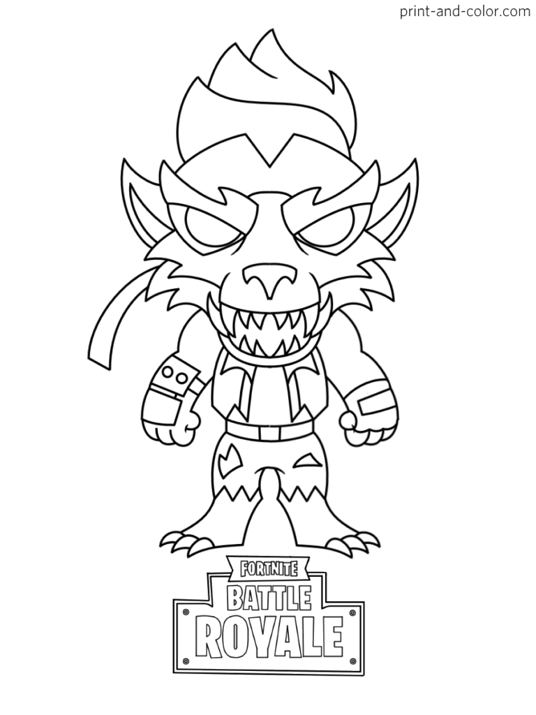 Fortnite Battle Royale Coloring Page Max Dire Werewolf