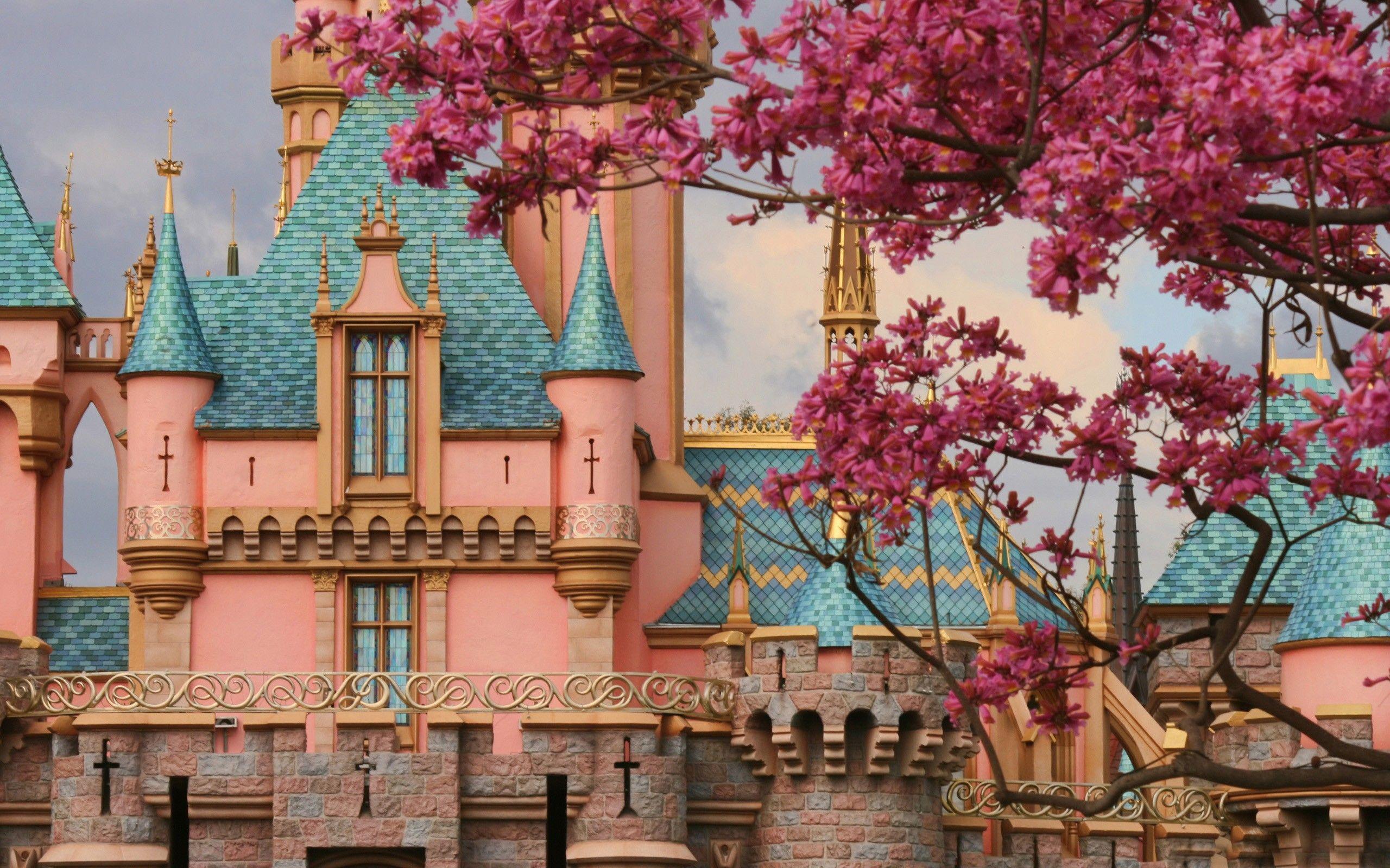 Pink Fairy Tale Castle Disneyland Wallpaper Spring Wallpaper Desktop Wallpapers Backgrounds