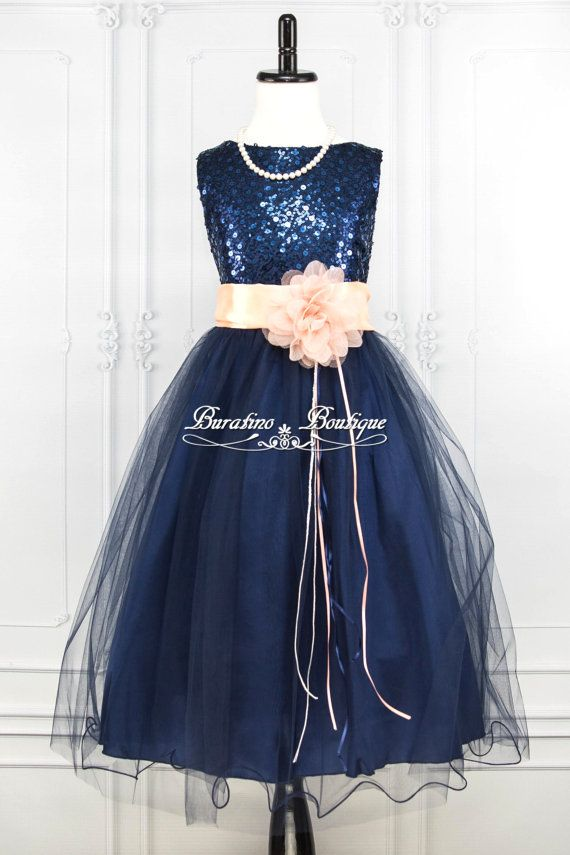 d3ccf495a4 NAVY BLUE Sequin Flower Girl Dress Peach Sash by BURATINOBOUTIQUE ...