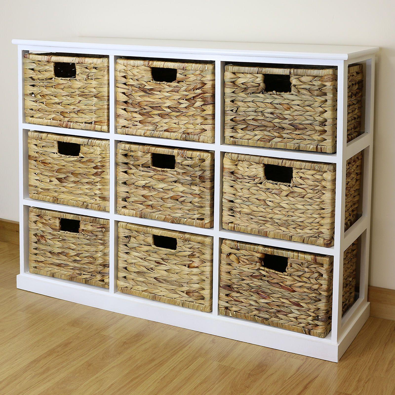 White 9 Drawer Basket Storage Side Unit Lounge Bathroom Nursery