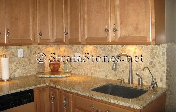 Quartz Pebble Tile Kitchen Backsplash Picture  Nanci's Kitchens New Design Tiles For Kitchen Design Ideas