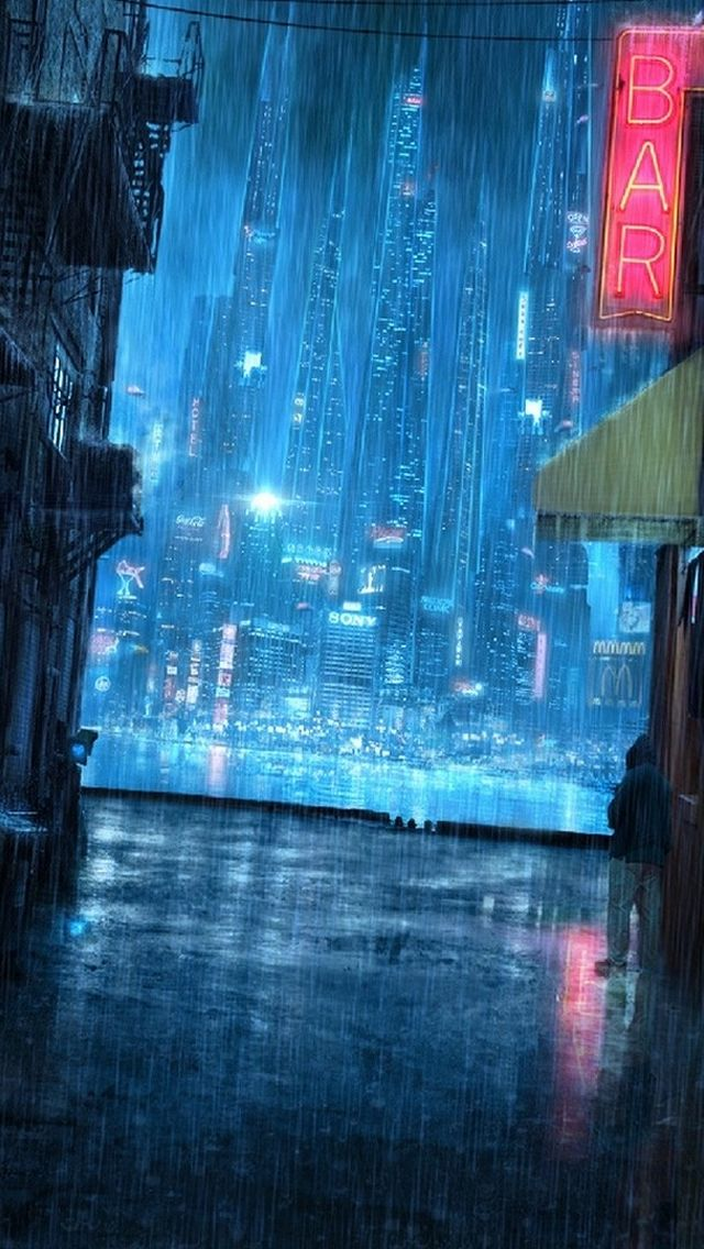 Rainy Night Street Iphone Wallpapers Futuristic City Urban Fantasy Art