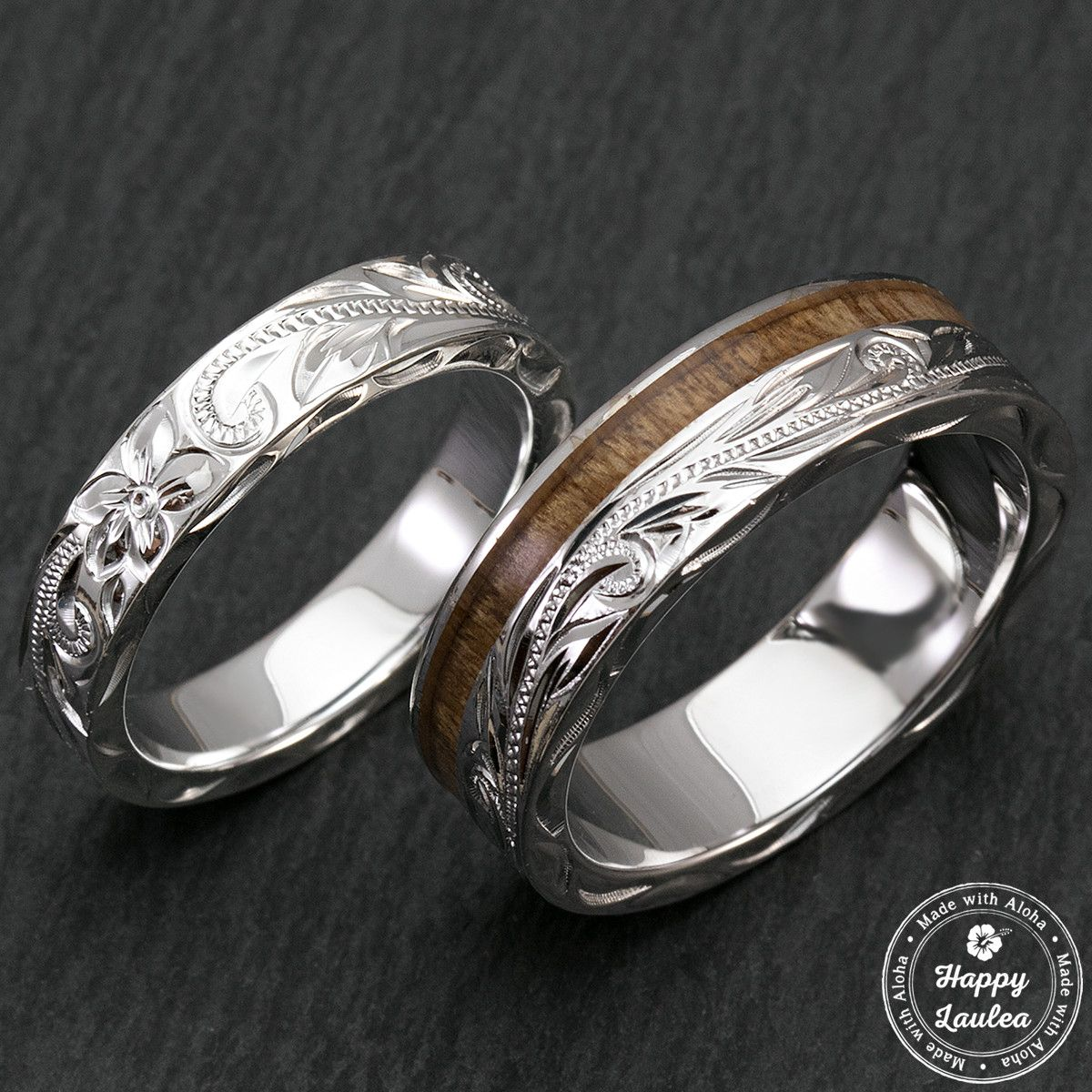 Sterling Silver Hawaiian Jewelry Couple/Wedding Ring Set