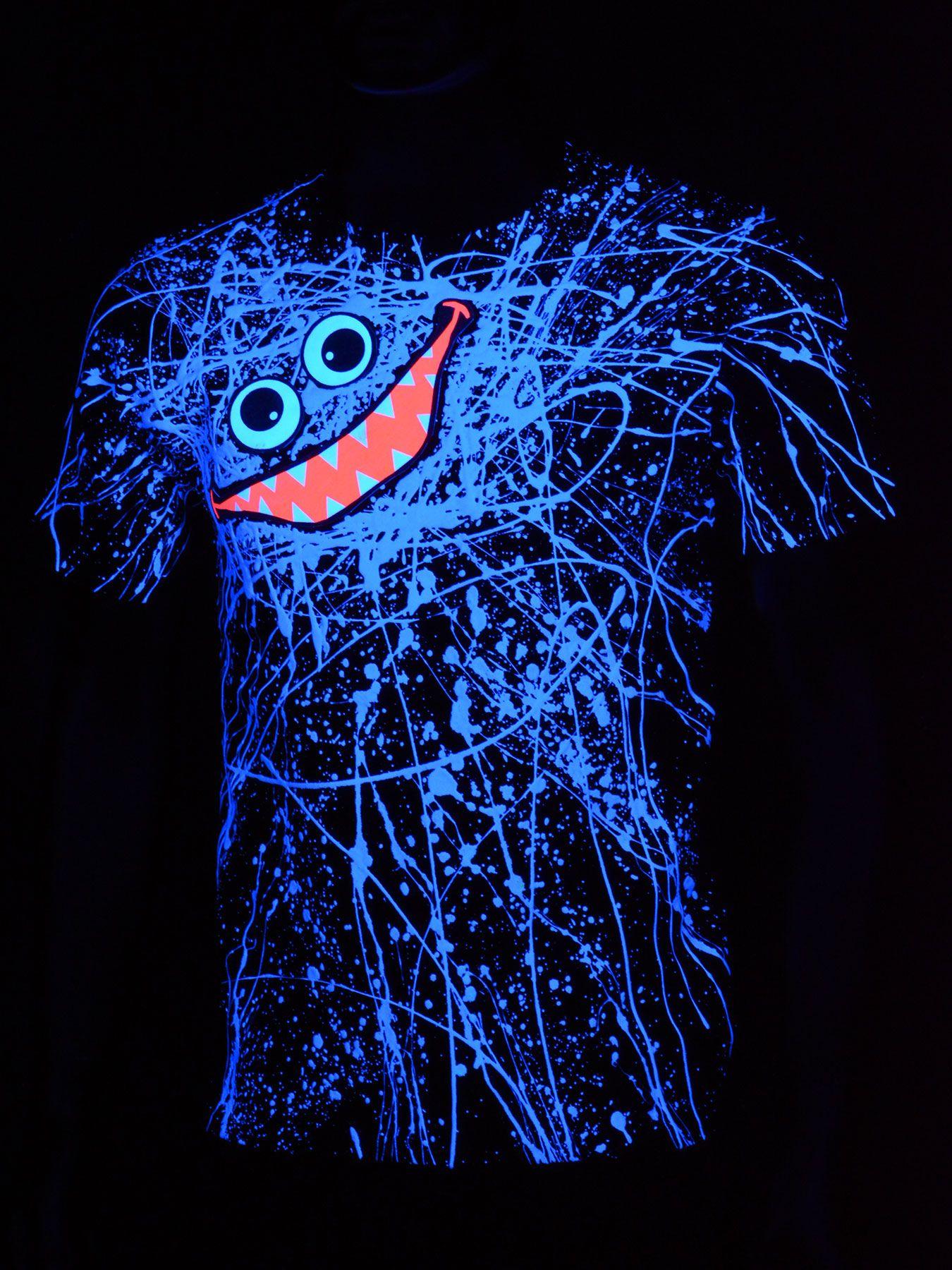 Black light t shirt ideas - Schwarzlicht T Shirt Neon Blue Scribble Face Unisex Black Blacklight Schwarzlicht