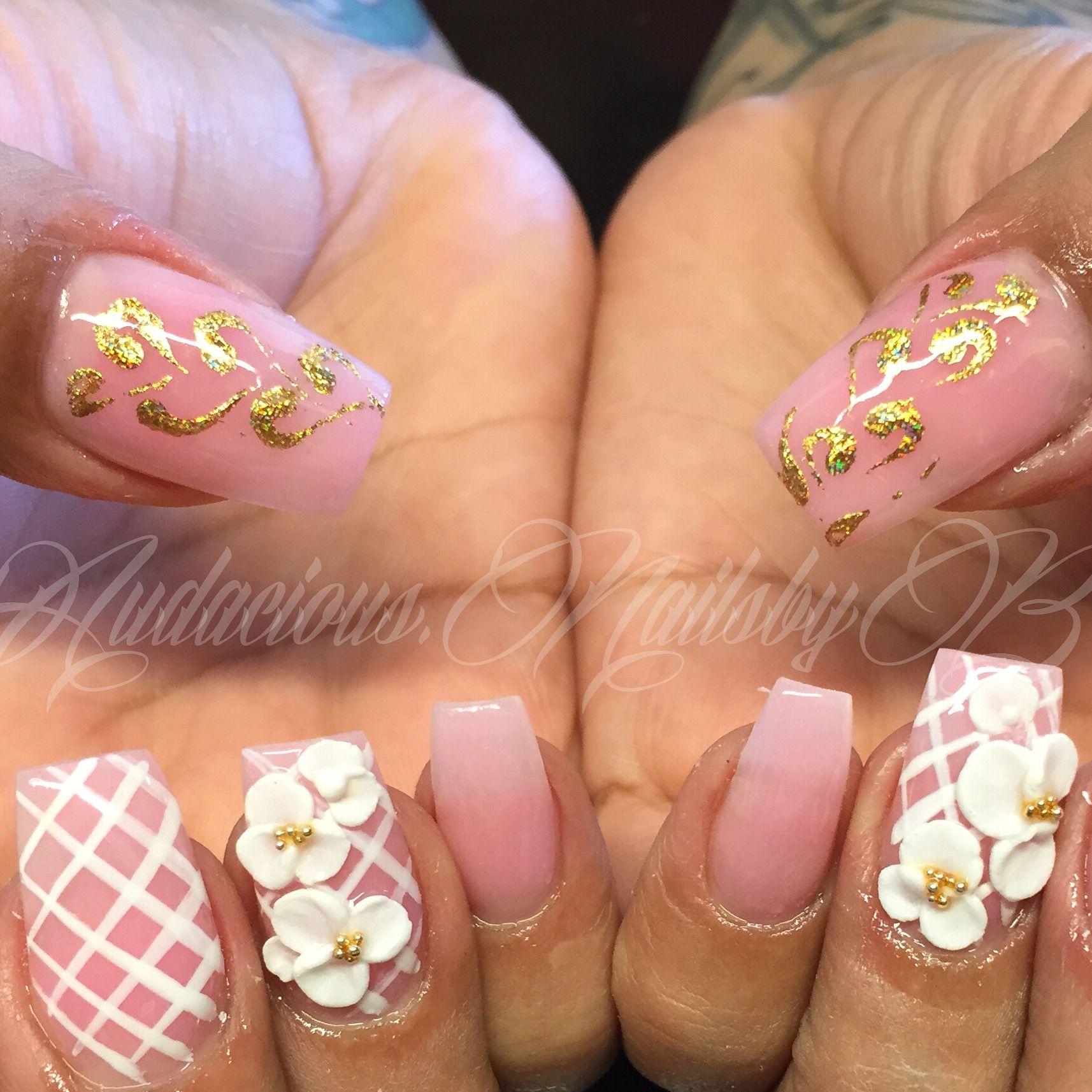 Swarovski stones Acrylic nails,Coffin foil 3d roses follow on ...