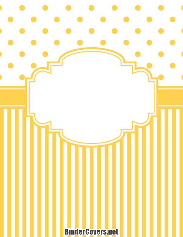 Printable Yellow Polka Dot and Stripe Binder Cover
